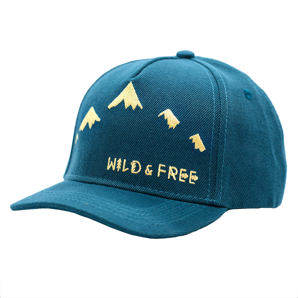 Mountain embroidered kid's hat by Wild and Free  Children's snapback hats.