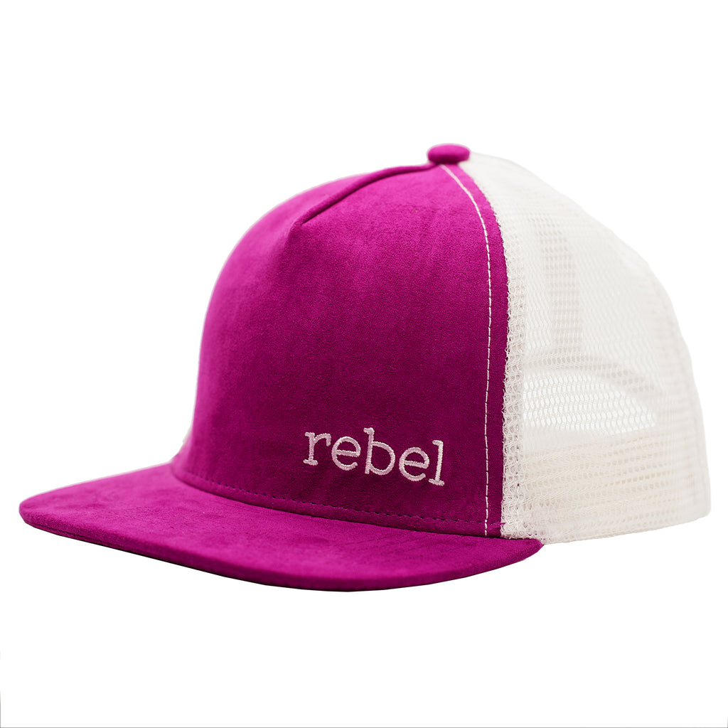 Suede, pink kid's hat with Rebel embroidery by Wild and Kids children's snapback hats.