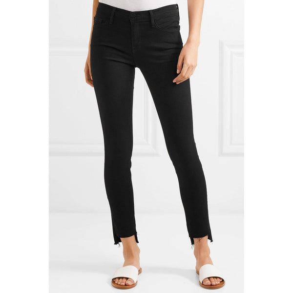 Black Le Skinny Jeanne Raw Stagger Mid-Rise Jeans
