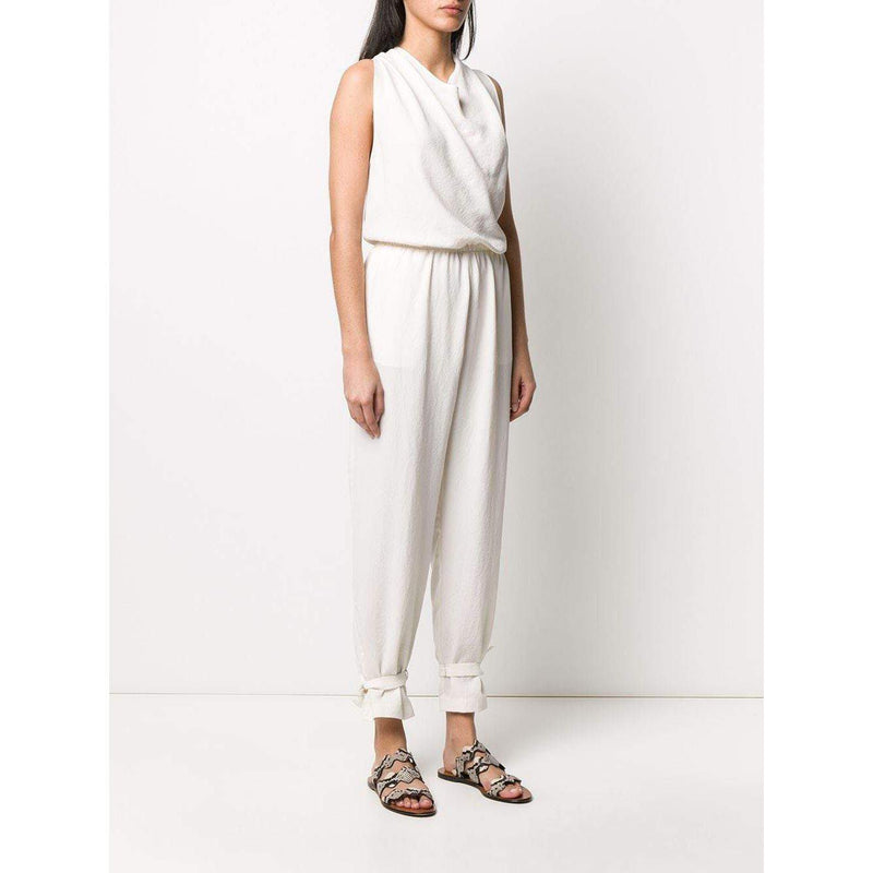 DRAPED NECK JUMPSUIT