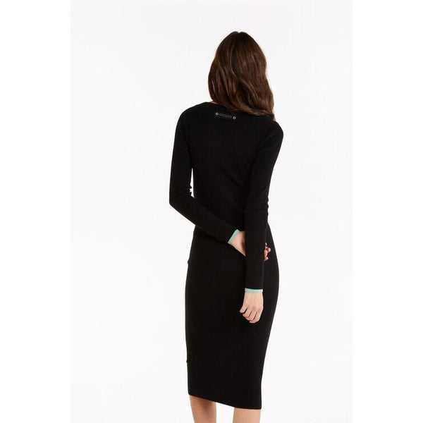 Asymmetric-neck midi dress