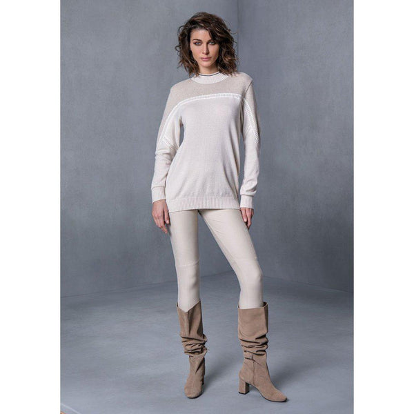 High neck beige sweater