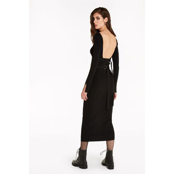 Lace-up back knit dress