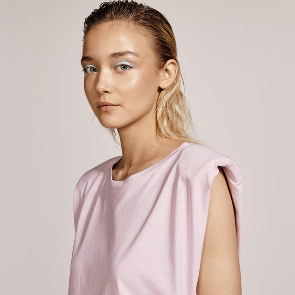 Baby Pink Top With Shoulder Pads