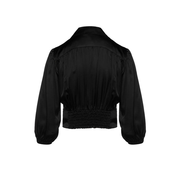 Black Satin Shirt With Knot Detail