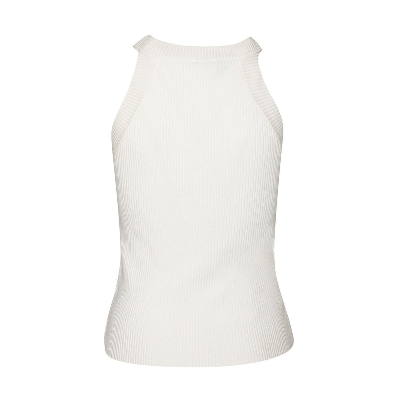 Off White Halter Neck Knit Top