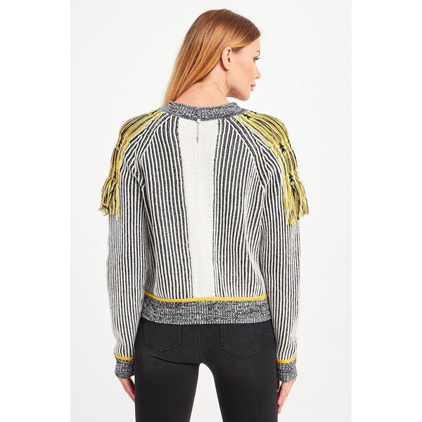 Chic Black and White Jumper with Yellow Detail