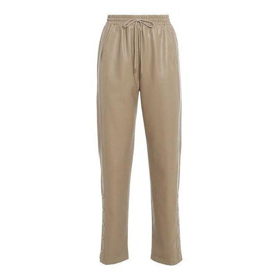 Beige Faux Leather Draw String Trousers