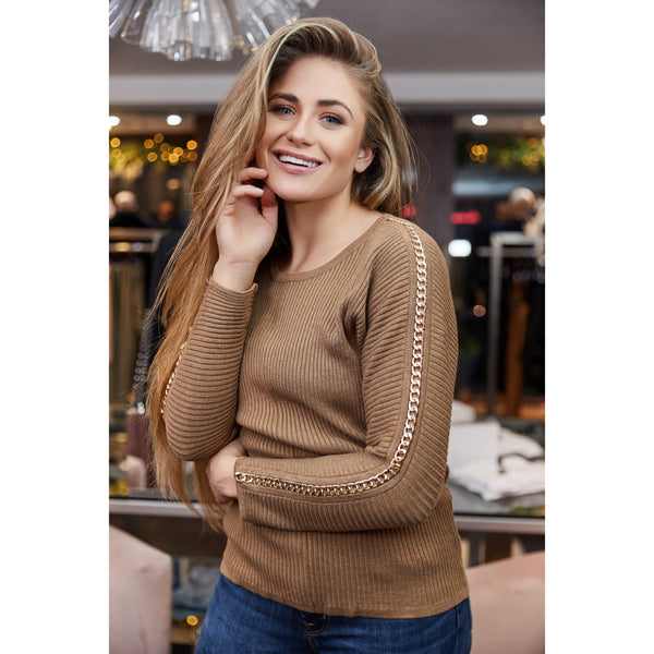 Camel Jumper With Gold Chain Detail