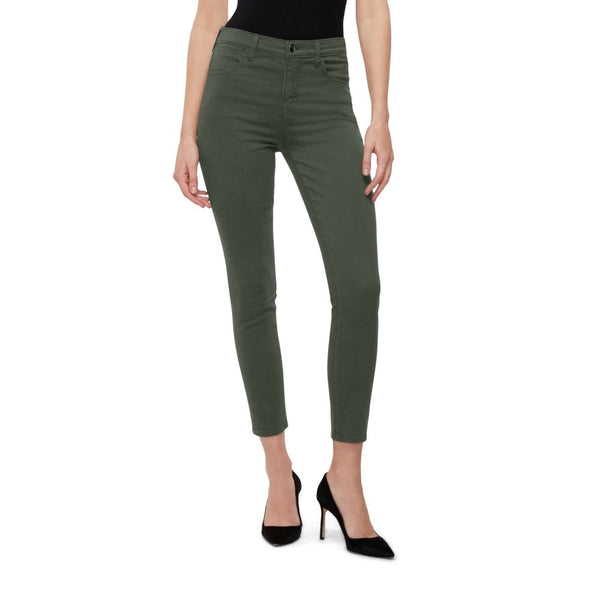 Green High Rise Crop Skinny Jeans