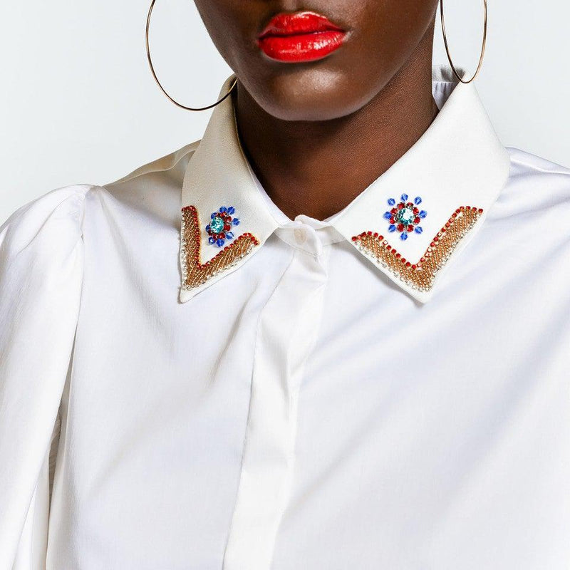 White Shirt With Detailed Neckline