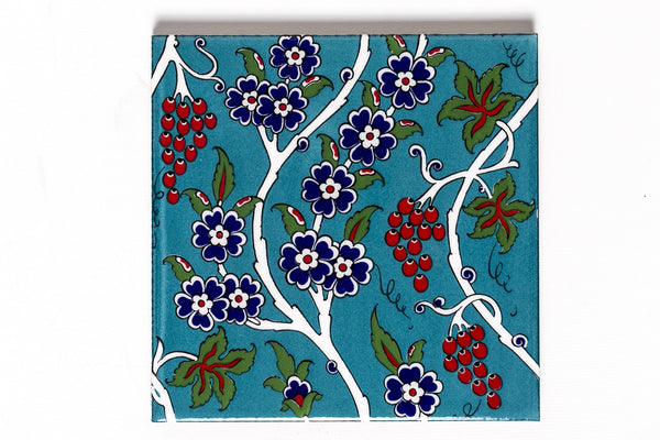 Patterned Turquoise İznik Tile | Large