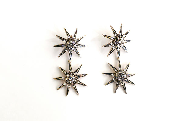 Starlight earrings, white crystal