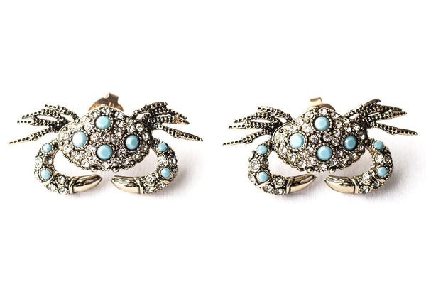 Crab-shaped stud earrings, turquoise crystal