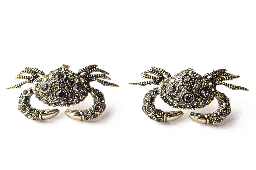 Crab-shaped stud earrings, smokey crystal
