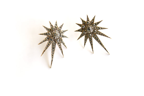 Crystal starburst earrings, smokey crystal
