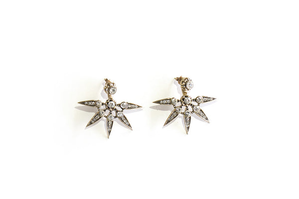 Crystal half starburst earrings