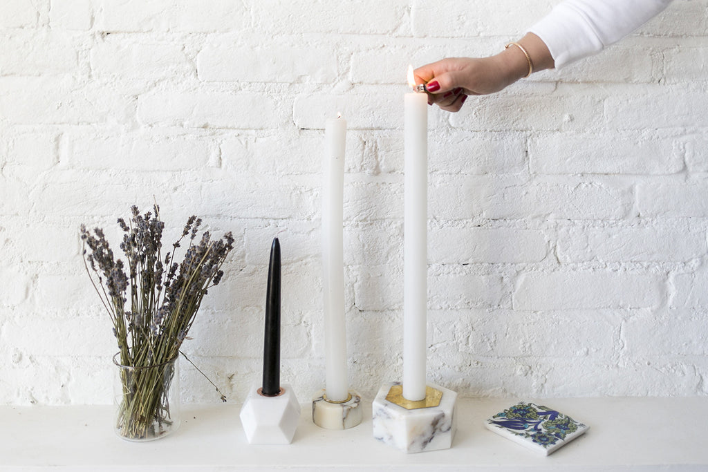 Marble Candle Holder | Hexagon