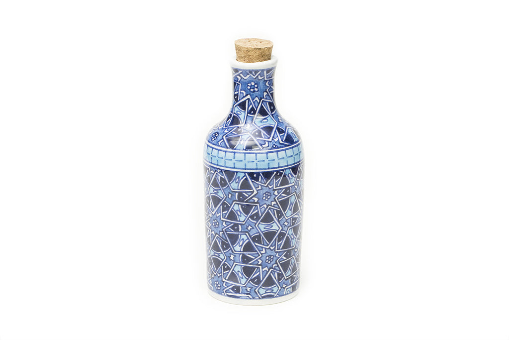 İznik Ceramic Bottle · Dark Blue and Light Blue
