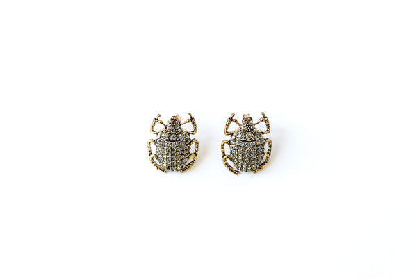 Beetle earrings, smokey crystal