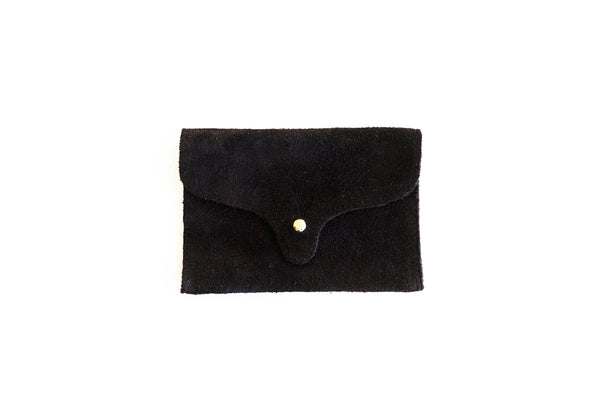 Suede card holder, black