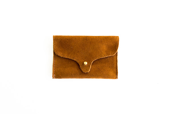 Suede card holder, camel