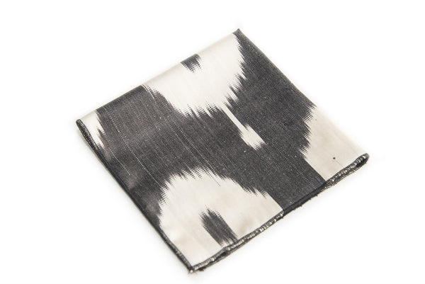 Ikat Handkerchief - Black and White Circular Design