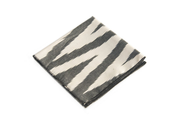 Ikat Hankerchief - Black and White Zigzag