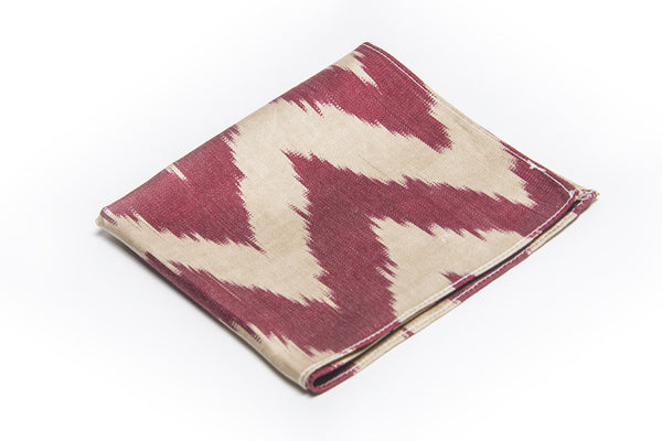 Ikat Hankerchief - Deep Red and Cream