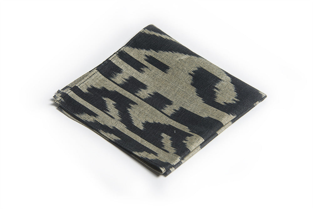 Ikat Hankerchief - Black and Grey