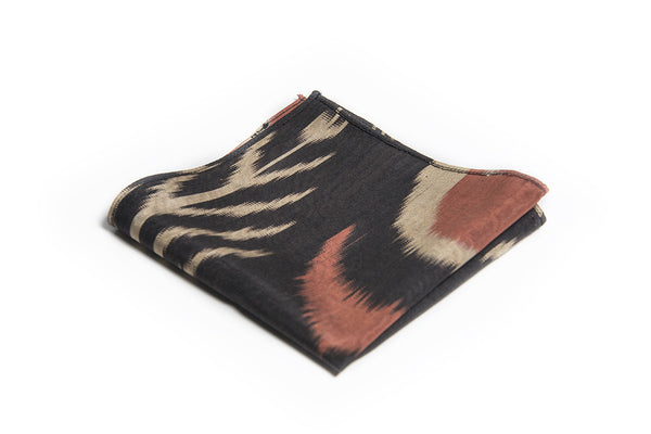 Ikat Hankerchief - Black, Cream and Red