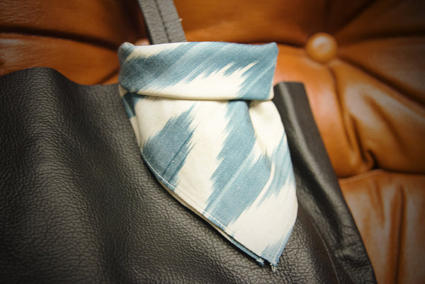 Ikat Handkerchief - Blue and White