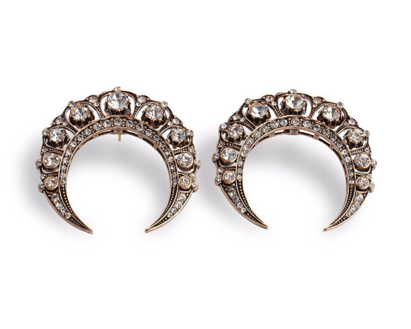 Bronze filigree crescent earrings