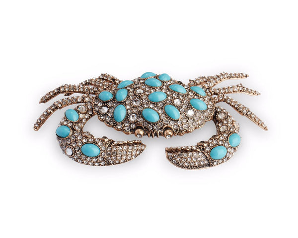 Crab-shaped lapel pin, turquoise and crystal