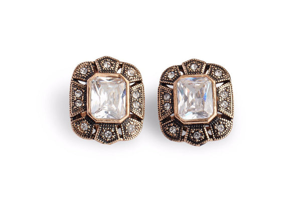 Square cut crystal earrings