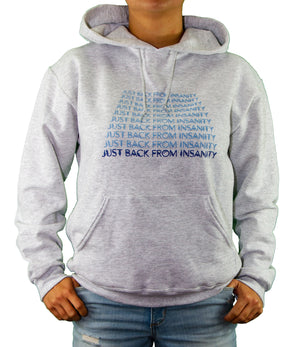 Front of Gray Just Back From Insanity Hoodie by MHAB Marketplace Recovery Clothing