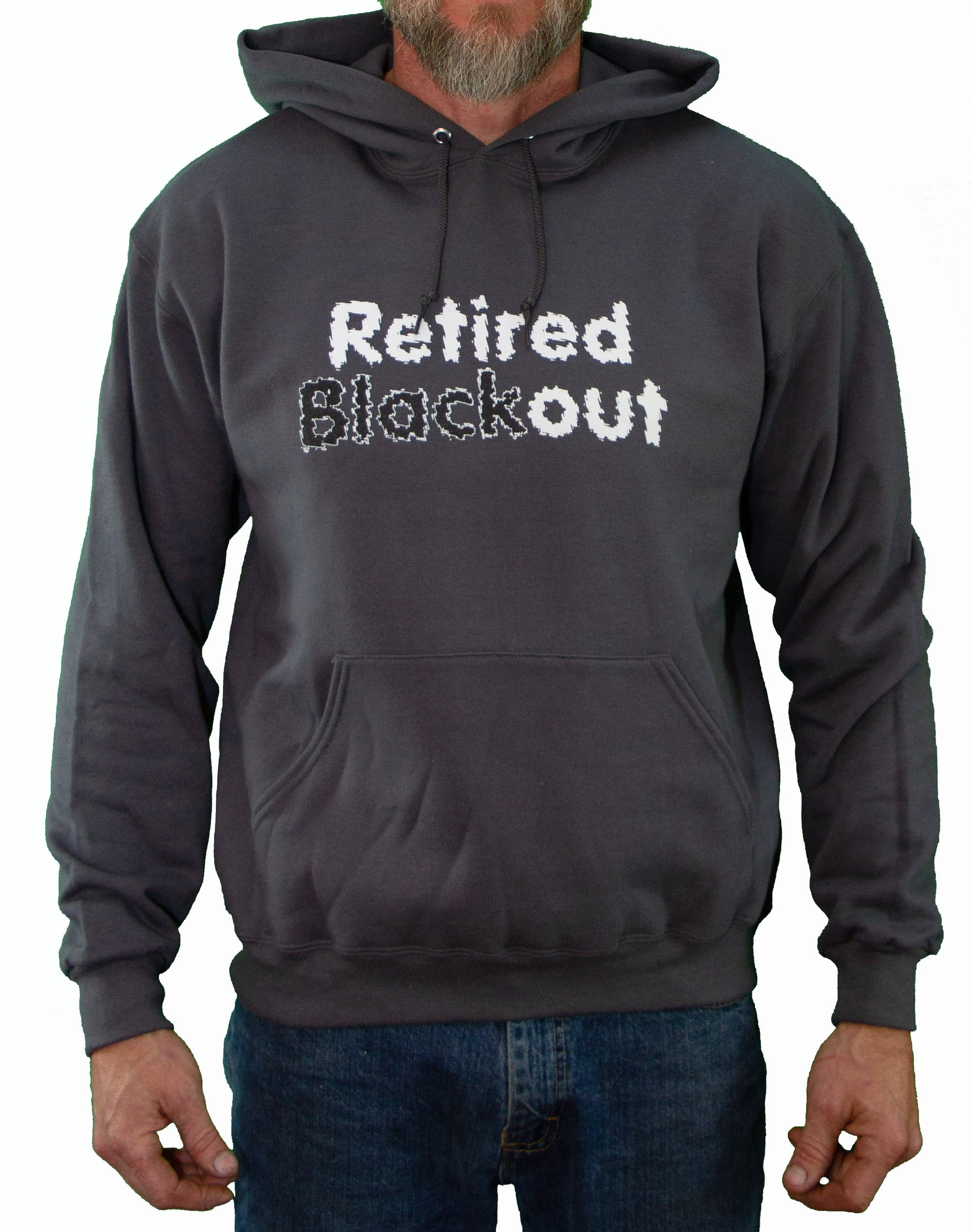 Front of Charcoal Retired Blackout Hoodie by MHAB Marketplace Recovery Clothing