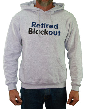 Front of Gray Retired Blackout Hoodie by MHAB Marketplace Recovery Clothing