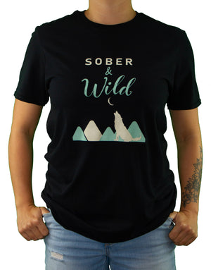 Front of Black Sober and Wild Tee by MHAB Marketplace Recovery Clothing