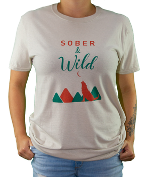 Front of Peach Sober and Wild Tee by MHAB Marketplace Recovery Clothing