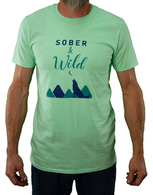 Front of Mint Sober and Wild Tee by MHAB Marketplace Recovery Clothing