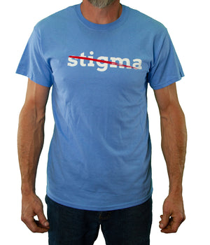 Front of Blue Stigma Free Tee by MHAB Marketplace Recovery Clothing