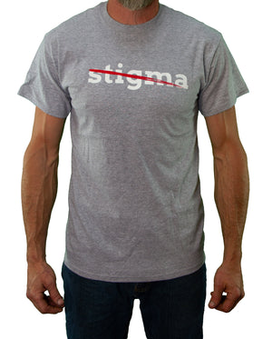 Front of Gray Stigma Free Tee by MHAB Marketplace Recovery Clothing