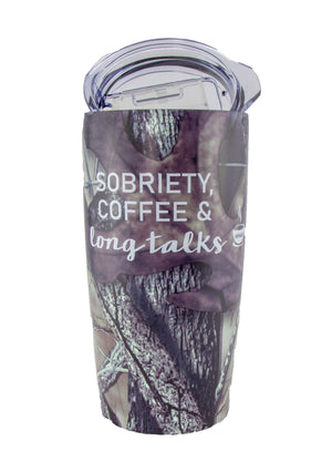 Timber Camouflage Sobriety Coffee and Long Talks Travel Mug Tumbler