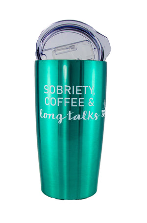 Teal Sobriety Coffee and Long Talks Travel Mug Tumbler