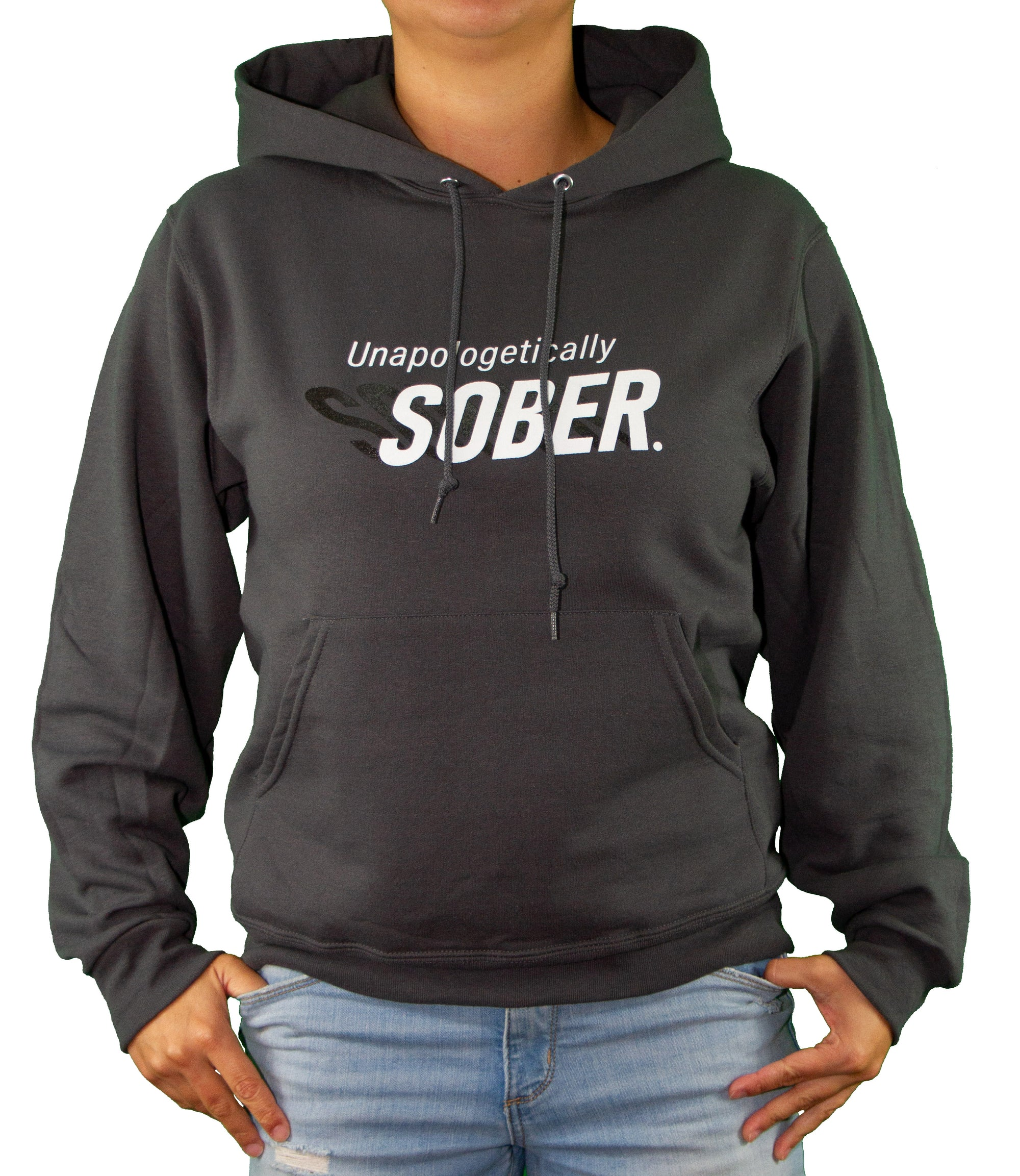Front of Red Unapologetically Sober Hoodie by MHAB Marketplace Recovery Clothing