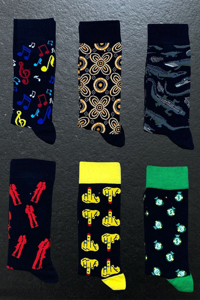 6 Pack Patterned Long Socks Nota Paket - The Trendy Accessories Store