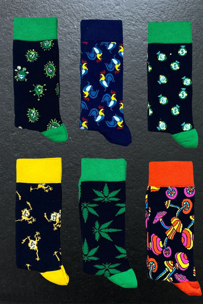 6 Pack Patterned Long Socks Virus Pack - The Trendy Accessories Store