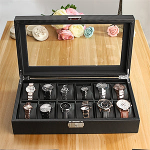 12 Slot Luxury Carbon Fiber Watch Box Black - The Trendy Accessories Store