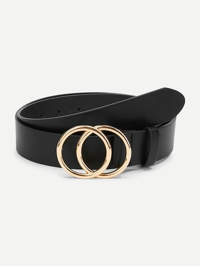 Gold Plated Double Circle Buckle Belt - The Trendy Accessories Store